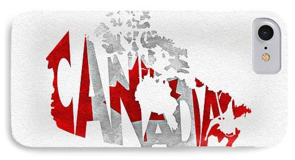 Canada Typographic Map Flag IPhone Case by Ayse Deniz