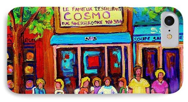 Canadian Artists Montreal Paintings Cosmos Restaurant Sherbrooke Street West Sidewalk Cafe Scene Phone Case by Carole Spandau