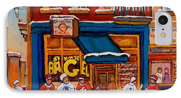 Canadian  Artists Paint Hockey And Montreal Streetscenes Over 500 Prints Available  IPhone Case by Carole Spandau