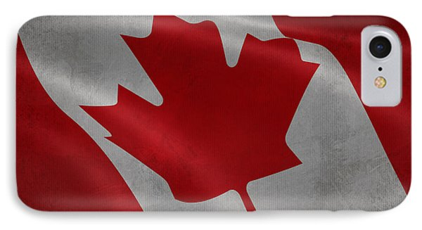 Canadian Flag Waving Aged Canvas IPhone Case by Eti Reid