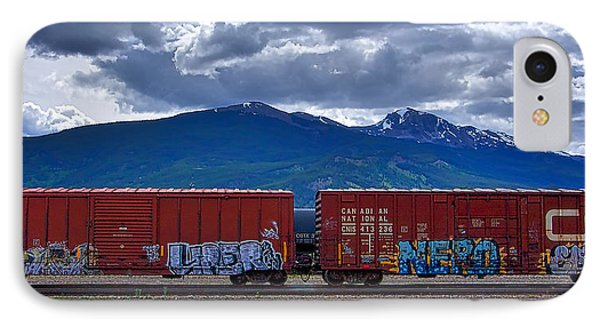 Canadian Freight Train In Jasper IPhone Case by Stuart Litoff
