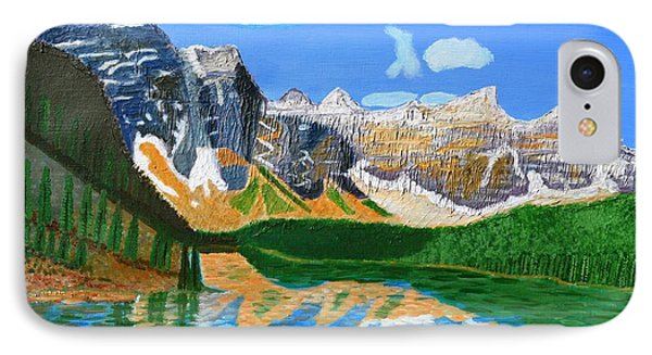 IPhone Case featuring the painting Canadian Mountains And Lake  by Magdalena Frohnsdorff