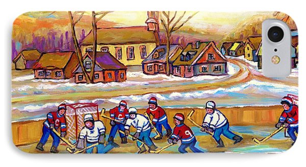 Canadian Village Scene Hockey Game Quebec Winter Landscape Outdoor Hockey Carole Spandau IPhone Case by Carole Spandau