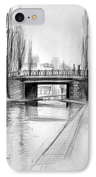 Canal Bridge In Paris IPhone Case by Mark Lunde
