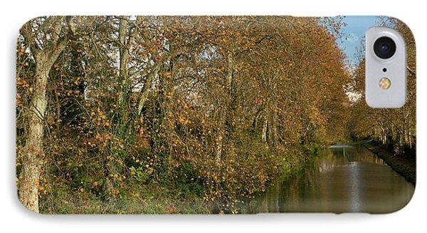 Canal Du Midi And Plane Trees IPhone Case by Bob Gibbons