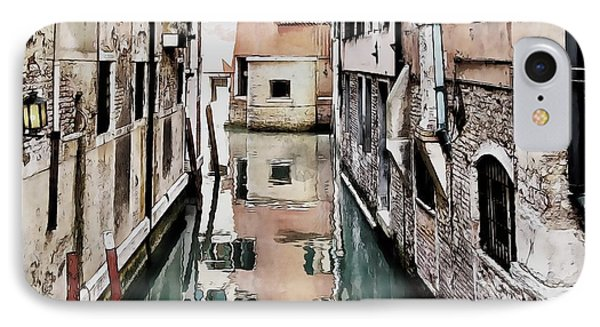 IPhone Case featuring the digital art Canal In Venice by Kai Saarto