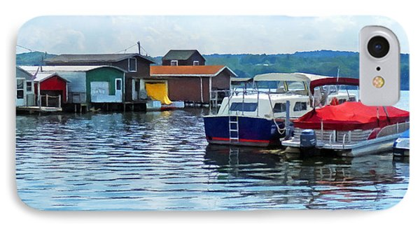 Canandaigua Fishing Shacks IPhone Case by Susan Savad