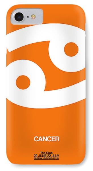 Cancer Zodiac Sign White On Orange IPhone Case by Naxart Studio