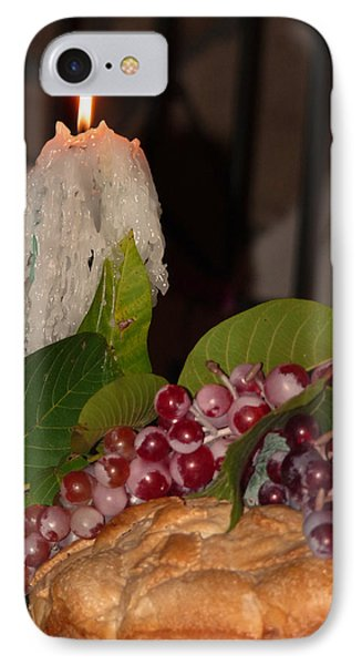 IPhone Case featuring the photograph Candle And Grapes by Marcia Socolik
