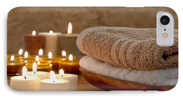 Candles And Towels In A Spa Phone Case by Olivier Le Queinec