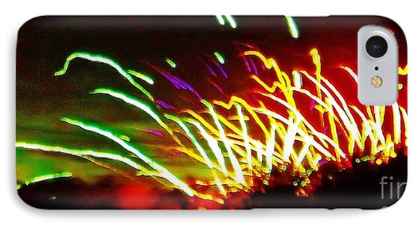IPhone Case featuring the photograph Candy Stripe Fireworks by Brigitte Emme