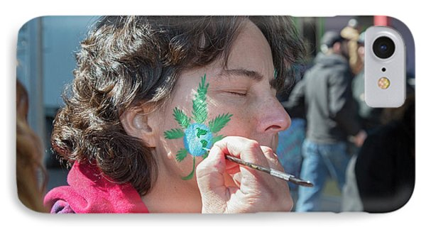 Cannabis Face Painting IPhone Case by Jim West