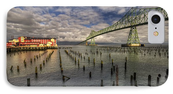 Cannery Pier Hotel And Astoria Bridge IPhone Case by Mark Kiver