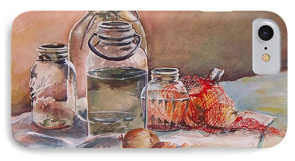 IPhone Case featuring the painting Canning Jars And Onions by Joy Nichols
