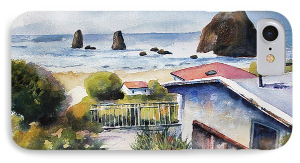 IPhone Case featuring the painting Cannon Beach Cottage by Marti Green