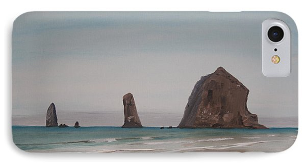 IPhone Case featuring the painting Cannon Beach Haystack Rock by Ian Donley