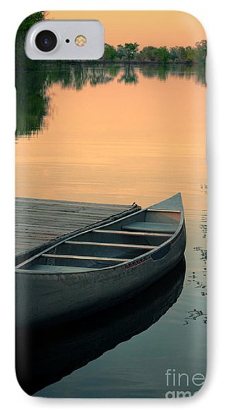 Canoe At A Dock At Sunset Phone Case by Jill Battaglia