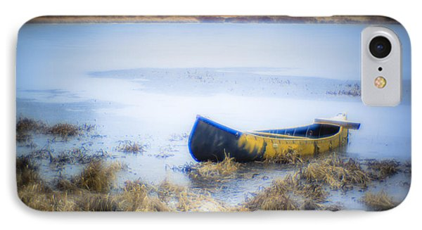 Canoe At The Frozen Lake IPhone Case