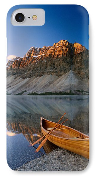Canoe At The Lakeside, Bow Lake IPhone Case by Panoramic Images