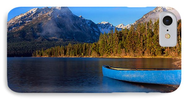Canoe In Lake In Front Of Mountains IPhone Case by Panoramic Images