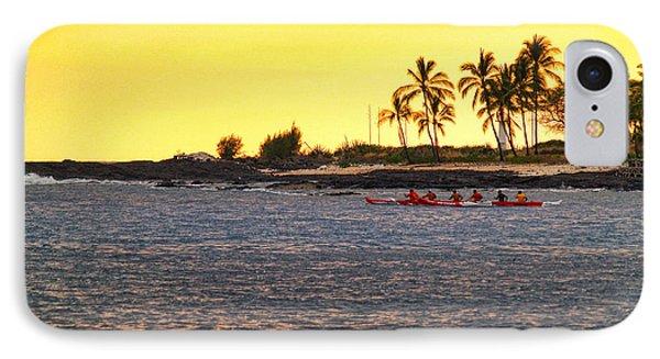 Canoe On Kona Coast Phone Case by Athala Carole Bruckner