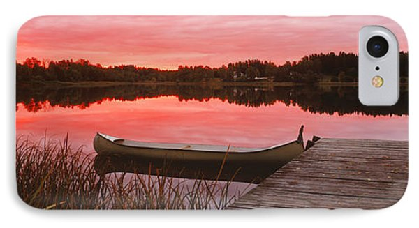 Canoe Tied To Dock On A Small Lake IPhone Case by Panoramic Images