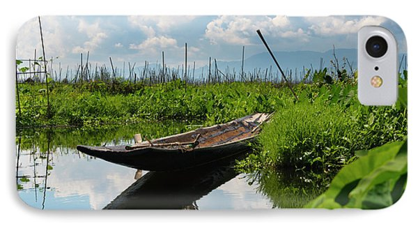 Canoe Withe Floating Farm On Inle Lake IPhone Case