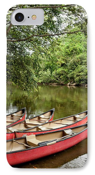 Canoeing The Macal River In Jungle Area IPhone Case