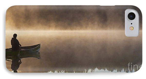 Canoeist On A Golden Misty Morning Phone Case by Barbara McMahon