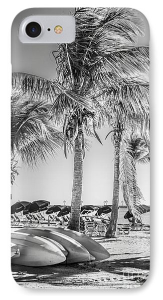 Canoes And Palms - Higgs Beach Key West - Black And White IPhone Case by Ian Monk