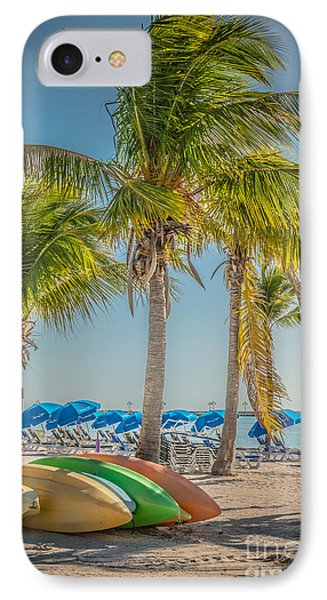 Canoes And Palms - Higgs Beach Key West - Hdr Style IPhone Case by Ian Monk