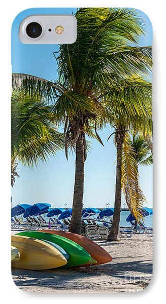 Canoes And Palms - Higgs Beach Key West  IPhone Case by Ian Monk