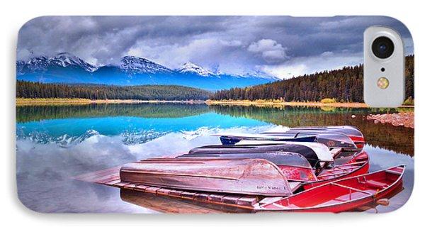 Canoes At Lake Patricia Phone Case by Tara Turner