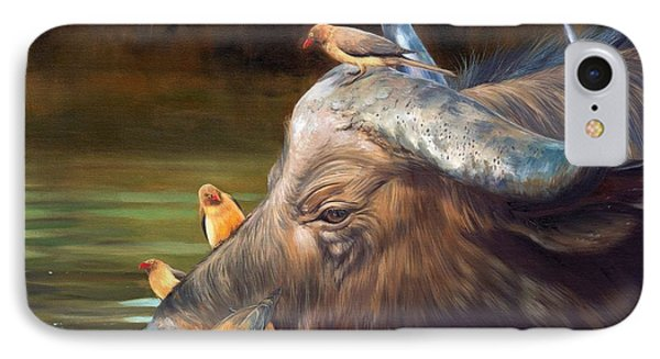 Cape Buffalo And Oxpeckers IPhone Case by David Stribbling