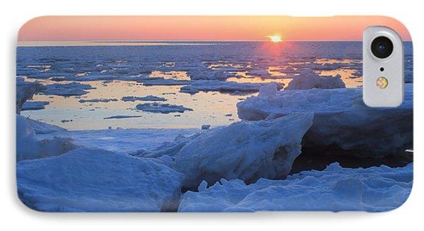 Cape Cod Bay Ice Sunset IPhone Case by John Burk