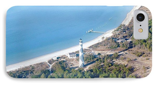 Cape Lookout Lighthouse Aerial View IPhone Case by Dan Williams