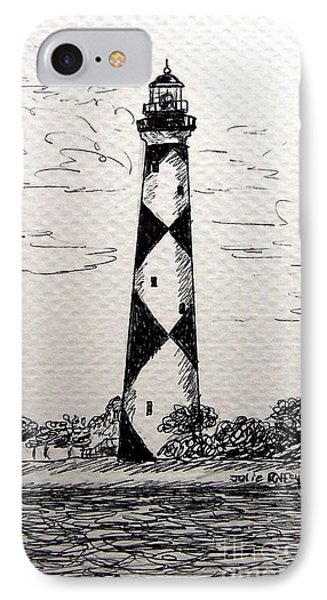 IPhone Case featuring the drawing Cape Lookout Lighthouse Nc by Julie Brugh Riffey