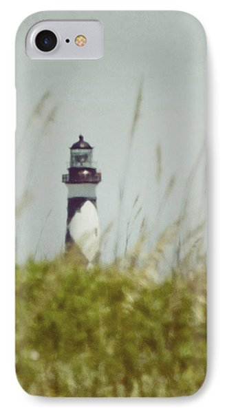 IPhone Case featuring the photograph Cape Lookout Lighthouse - Vintage by Kerri Farley
