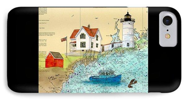 Cape Neddick Lighthouse Me Nautical Chart Map Art Cathy Peek Phone Case by Cathy Peek