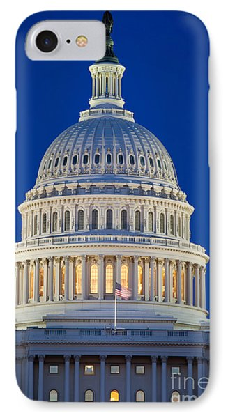 Capitol Dome By Night IPhone Case by Inge Johnsson