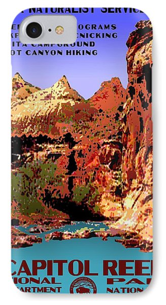 Capitol Reef National Park Vintage Poster IPhone Case by Eric Glaser