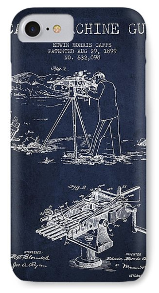 Capps Machine Gun Patent Drawing From 1899 - Navy Blue IPhone Case by Aged Pixel