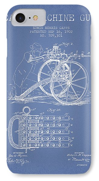 Capps Machine Gun Patent Drawing From 1902 - Light Blue Phone Case by Aged Pixel