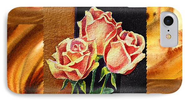 Cappuccino Abstract Collage French Roses Phone Case by Irina Sztukowski