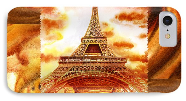 Cappuccino In Paris Abstract Collage Eiffel Tower IPhone Case by Irina Sztukowski