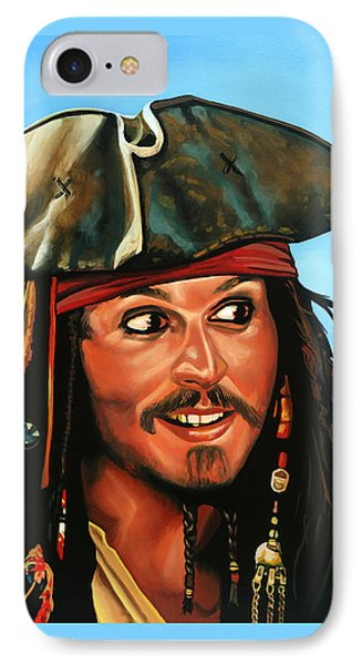 Sparrow iPhone 7 Case - Captain Jack Sparrow Painting by Paul Meijering