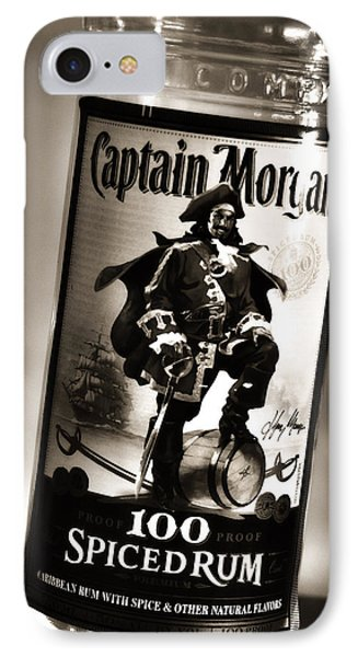 Captain Morgan Black And White IPhone Case by Janie Johnson