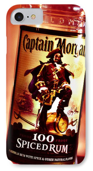 Captain Morgan Red Toned IPhone Case by Janie Johnson