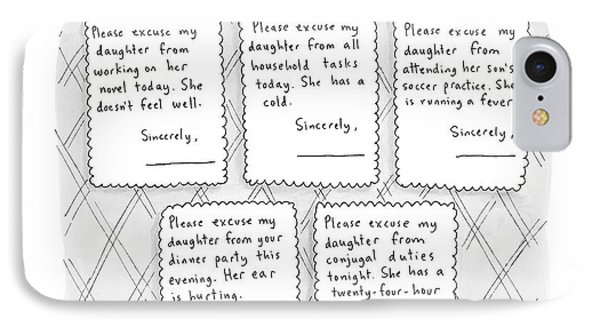 Captionless: Adult Absence Notes IPhone Case by Roz Chast