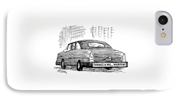 Captionless. Bumper Sticker On Car Reads: Thanks IPhone Case by Mike Twohy